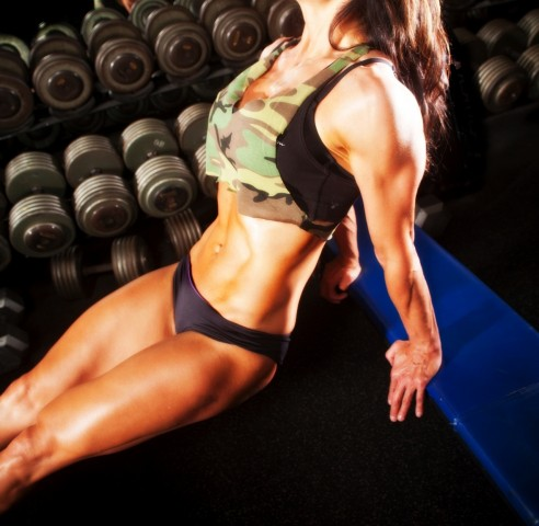 fit girls triceps dips bench